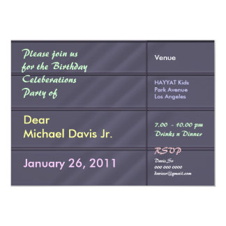 Satin Luxury Blue Grey with Sample Text 13 Cm X 18 Cm Invitation Card