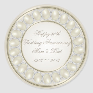 Satin Pearl 30th Wedding Anniversary Stickers