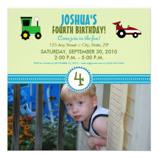 Satin Ribbon Tractor Birthday Party Invite lime