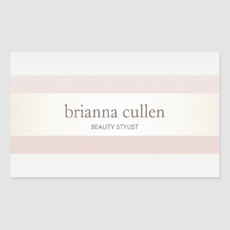 Satin Striped Blush Pink Beauty Salon and Spa Rectangular Sticker