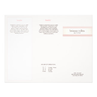 Satin Striped Blush Pink Beauty Salon Spa Brochure 21.5 Cm X 28 Cm Flyer