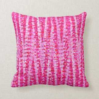 Satin Stripes and Dots Abstract, Fuchsia Pink Throw Pillow