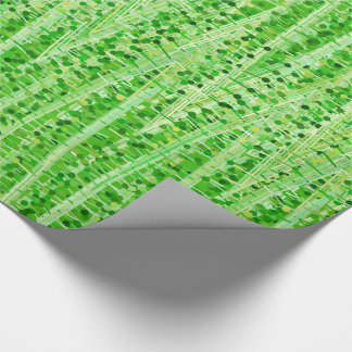 Satin Stripes and Dots Abstract, Lime Green Wrapping Paper