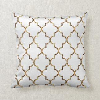 Satin White & Gold Quatrefoil Pattern Cushion