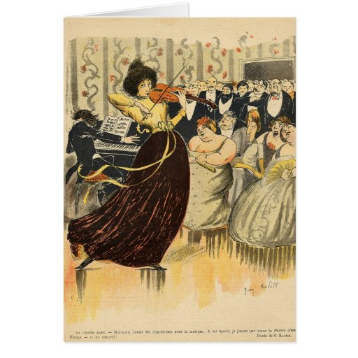 Satire of a salon musical evening greeting cards