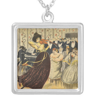 Satire of a salon musical evening square pendant necklace