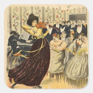 Satire of a salon musical evening square sticker