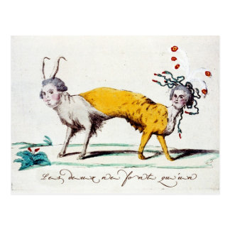 Satire on Louis XVI and Marie Antoinette Postcard