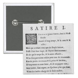 'Satires' by Nicolas Boileau 15 Cm Square Badge