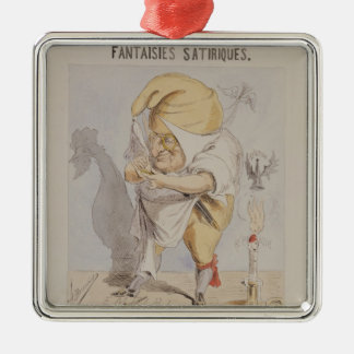 Satirical Fantasies, caricature of Adolphe Silver-Colored Square Decoration