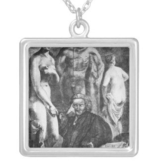 Satirical portrait of Laurence Sterne, c.1761 Silver Plated Necklace