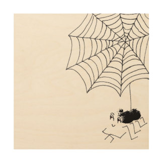 Satisfied Spider Wood Print