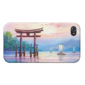 Satta Miyajima Torii and Sailboats japanese art iPhone 4 Cover