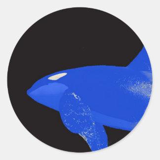 Saturday Blue Orca Round Sticker