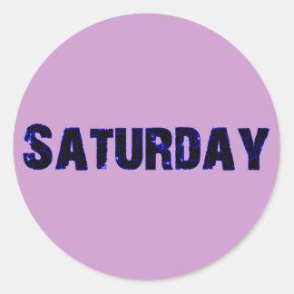 Saturday Day of the Week Merchandise Round Sticker