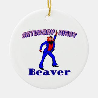 Saturday Night Disco Beaver Round Ceramic Decoration