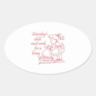 Saturday's Child Oval Sticker