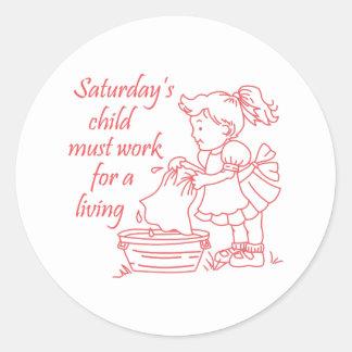 Saturday's Child Round Stickers