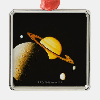 Saturn and Her Moons Silver-Colored Square Decoration