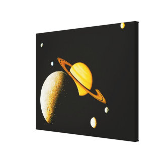 Saturn and Her Moons Stretched Canvas Prints
