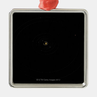 Saturn and Its Moons Silver-Colored Square Decoration