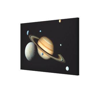 Saturn and satellites canvas print
