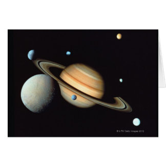 Saturn and satellites card