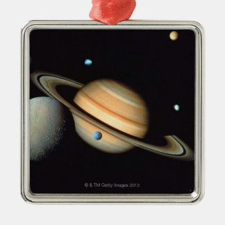 Saturn and satellites christmas ornament