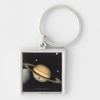 Saturn and satellites Silver-Colored square key ring