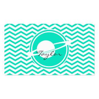 Saturn; Aqua Green Chevron Pack Of Standard Business Cards