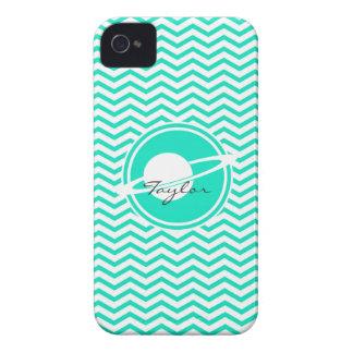 Saturn Aqua Green Chevron Case-Mate iPhone 4 Case