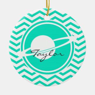 Saturn; Aqua Green Chevron Christmas Ornament