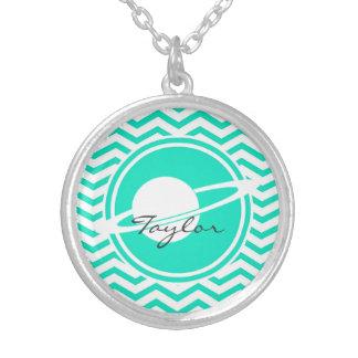 Saturn Aqua Green Chevron Necklace