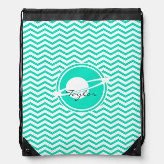 Saturn Aqua Green Chevron Drawstring Backpack