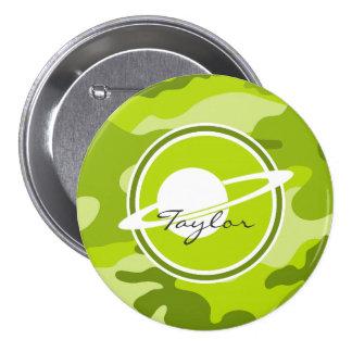 Saturn bright green camo camouflage button