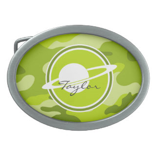 Saturn bright green camo camouflage oval belt buckle