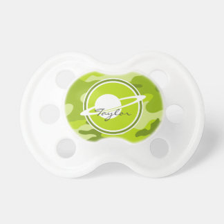 Saturn bright green camo camouflage baby pacifier