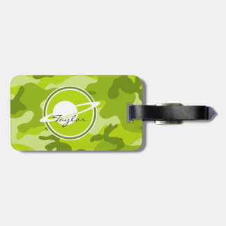 Saturn bright green camo camouflage bag tags