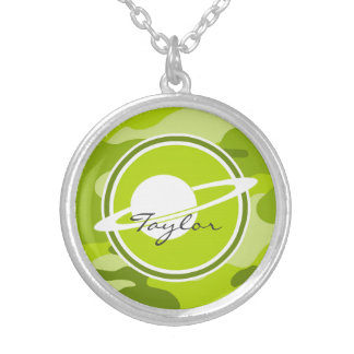 Saturn bright green camo camouflage necklaces