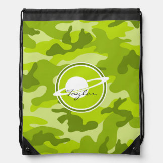 Saturn bright green camo camouflage drawstring backpack