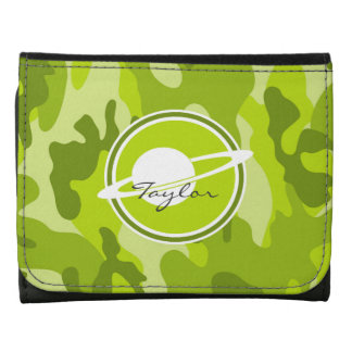 Saturn bright green camo camouflage wallet