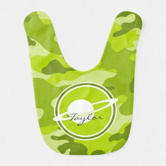 Saturn bright green camo camouflage baby bib