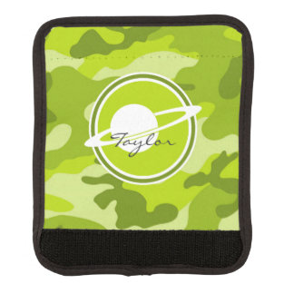 Saturn bright green camo camouflage luggage handle wrap