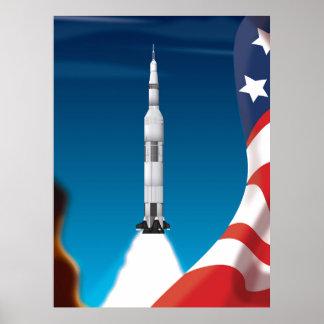 Saturn five Space Rocket Illustration Poster