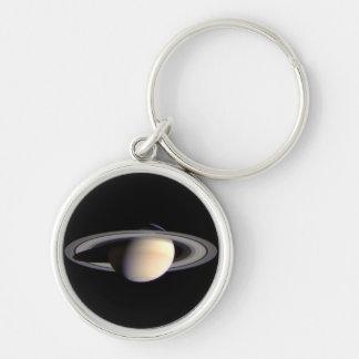 Saturn Keychain Silver-Colored Round Keychain