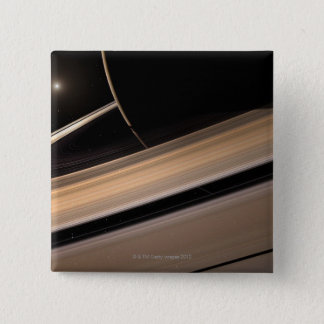 Saturn planet in solar system, close-up 3 15 cm square badge
