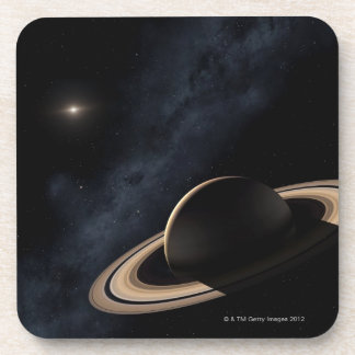 Saturn planet in solar system, close-up drink coasters