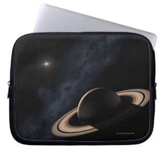 Saturn planet in solar system, close-up laptop sleeve