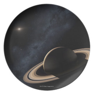 Saturn planet in solar system, close-up plate