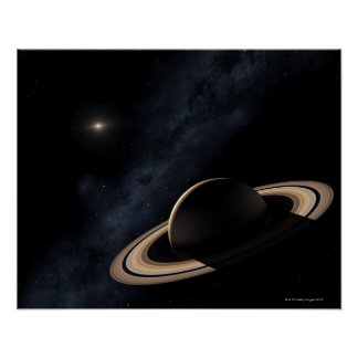 Saturn planet in solar system, close-up poster